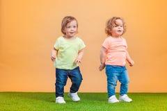 La fille drôle heureuse jumelle des soeurs jouant et riant Image libre de droits