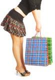 La fille effectue des achats. image stock
