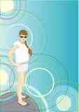La fille en glaces de soleil dans l'abstraction images libres de droits