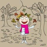 La fille en parc jette des feuilles d'automne Autumn Landscape Photo libre de droits