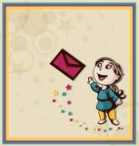 La fille envoie une lettre sous enveloppe. Photo stock