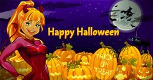 La fille est le caractère principal dans la nuit de Halloween illustration de vecteur