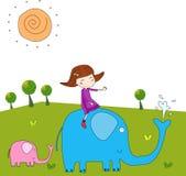 La fille et l'éléphant Photo libre de droits