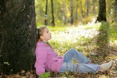 La fille et l'automne Images libres de droits