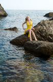 La fille et la mer photo libre de droits