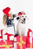 La fille et le chien s'asseyent avec des cadeaux de Noël Image stock
