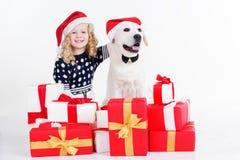 La fille et le chien s'asseyent avec des cadeaux de Noël Images stock