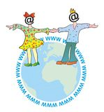 La fille et le garçon sur le globe Images libres de droits