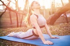 La fille fait des exercices de crocodile sur le tapis de yoga Dans le parc photos stock