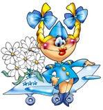 La fille gaie - le pilote militaire. Photo stock