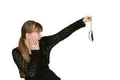 La fille garde la souris d'ordinateur Image libre de droits