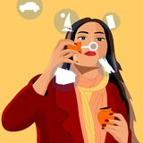 La fille gonfle des bulles de savon, et chaque bulle la manifeste des désirs illustration libre de droits