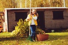 La fille heureuse d'enfant jouant le petit jardinier en automne et sélectionnant part dans le panier Travail saisonnier de jardin image stock