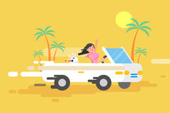 La fille heureuse de brune d'illustration conduit un convertible blanc Images stock