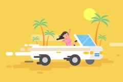 La fille heureuse de brune d'illustration conduit un convertible blanc Photographie stock