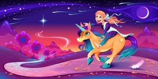 La fille heureuse monte la licorne suivant son étoile images libres de droits