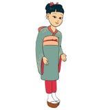La fille japonaise a rectifié le kimono traditionnel de procès Photographie stock libre de droits