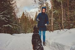 La fille joue avec un berger allemand photos stock