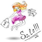 La fille joyeuse dans une robe saute des achats Image libre de droits