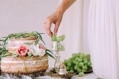 La fille joyeuse de fruit de gâteau prend le verre de main de raisins images stock