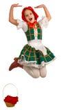La fille - le petit capot d'équitation rouge. Image stock