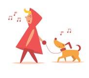 La fille marche avec le chien Images libres de droits