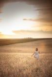 La fille marche dans le domaine avec du seigle au coucher du soleil, mode de vie Photo stock