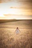 La fille marche dans le domaine avec du seigle au coucher du soleil, mode de vie Images stock