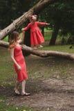 La fille marche sur l'arbre avec la maman photos stock