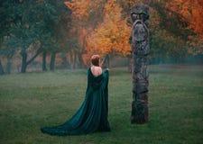 La fille merveilleuse dans la longue robe en soie verte avec les vies nues d'épaules dans la forêt brumeuse, vient au dégagement  image stock