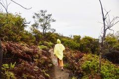 La fille monte le chemin jusqu'au dessus du volcan photo libre de droits