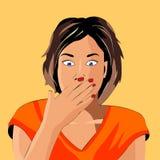 La fille montre l'émotion, terreur illustration de vecteur