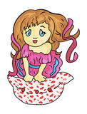 La fille par Valentines de jour Image libre de droits