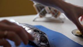La fille prépare des poissons avec des verts sur la table dans sa cuisine Dîner, faisant cuire banque de vidéos