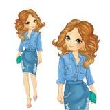 La fille s'est habillée dans la jupe et la chemise de denim illustration stock