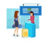 La fille se préparent au voyage, un billet de questions des employés d'aéroport Photos stock