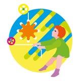La fille soulève le soleil Images libres de droits
