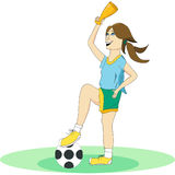 La fille sous forme de jouer le football illustration de vecteur