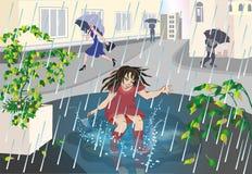 La fille sous la pluie illustration de vecteur