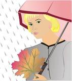 La fille sous un parapluie Images stock