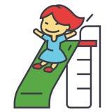 La fille sur des enfants glissent, jouant l'enfant, concept de jardin d'enfants Photo stock