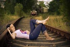 La fille sur des longerons Images libres de droits