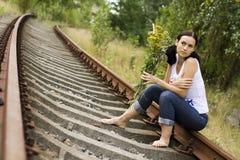 La fille sur des longerons Image libre de droits