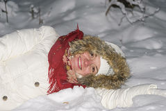 La fille sur la neige Photos stock