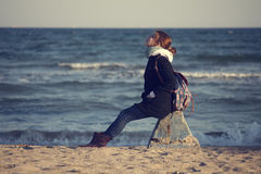 La fille sur la plage Photos libres de droits