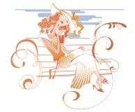 La fille sur le banc illustration de vecteur