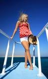 La fille sur le yacht Image libre de droits