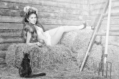 La fille sur un fauchage. Images stock
