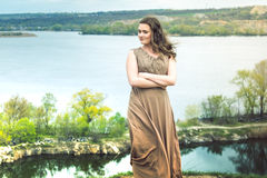 La fille sur un pré vert Image libre de droits