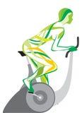 La fille sur un velosimulator () Image libre de droits